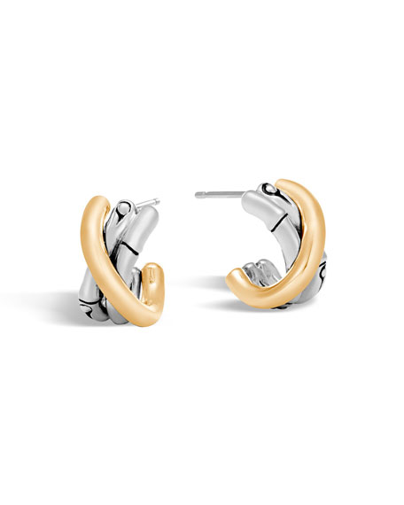 Bamboo 18K Gold & Silver J Hoop Earrings