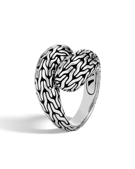 Classic Chain Silver Medium Bypass Ring, Size 7