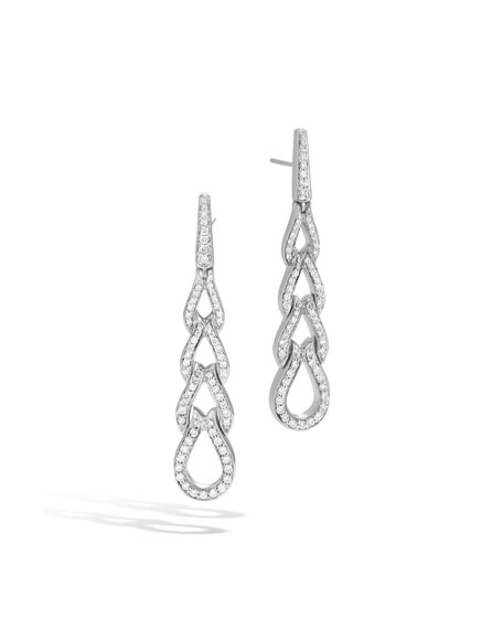 Classic Chain Silver Diamond Pavé Long Drop Earrings