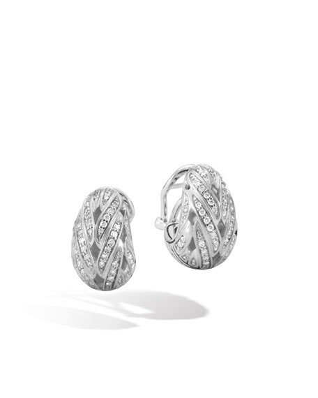 John Hardy Classic Chain Diamond Buddha Belly Earrings