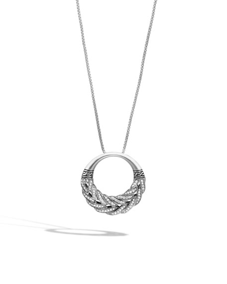 Classic Chain Diamond Circle Pendant Necklace, 32""