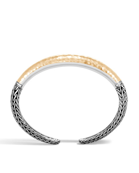 Classic Chain Hammered 18K & Silver Bracelet with Diamonds