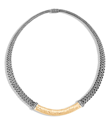 John Hardy Classic Chain Hammered Necklace with Diamonds