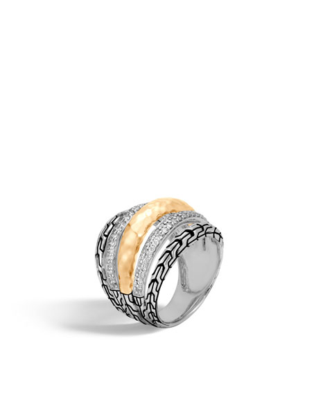 John Hardy Classic Chain Hammered Ring with Diamonds,