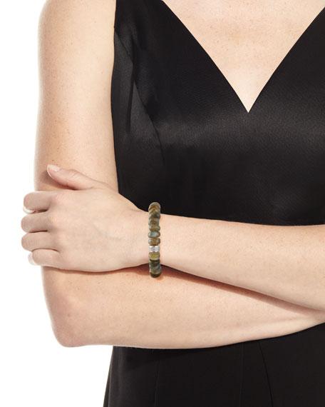 9mm Labradorite Beaded Bracelet with Diamond Spacer Bead