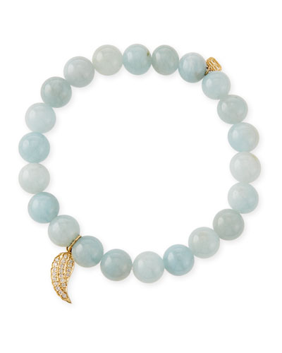8mm Aquamarine Beaded Bracelet with Diamond Wing Charm
