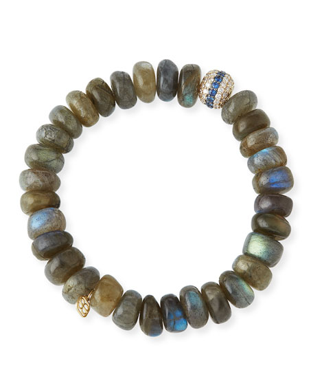 Sydney Evan 10mm Labradorite Beaded Bracelet with Blue