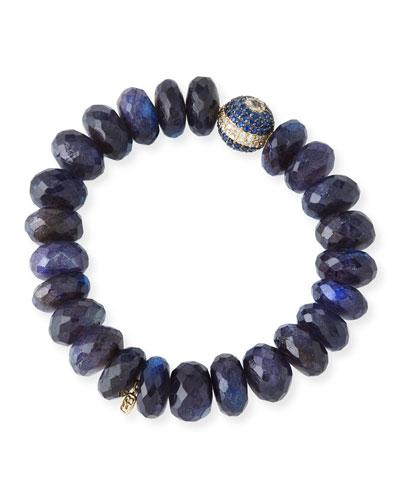 8mm Spectrolite Beaded Bracelet with Diamond & Sapphire Ball Bead