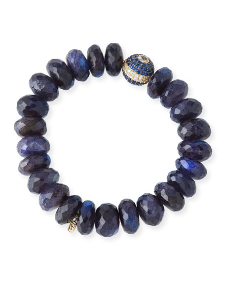 8mm Spectrolite Beaded Bracelet with Diamond & Sapphire Ball Bead