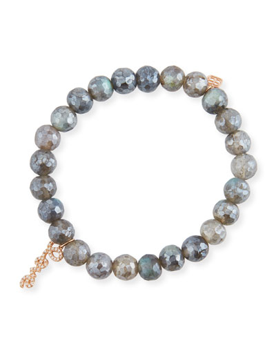 8mm Labradorite Beaded Bracelet with Diamond Love Script Charm