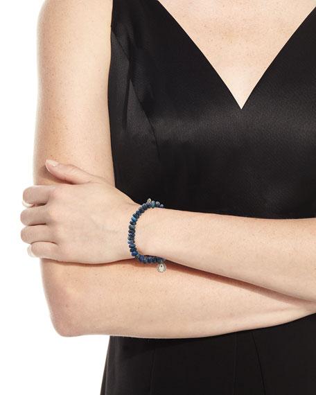 7mm Spectralite Beaded Bracelet with Diamond Moroccan Hamsa Charm