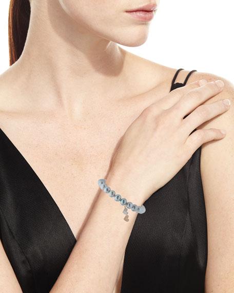 8mm Gray Pearl Beaded Bracelet with Diamond Duo Heart Charm