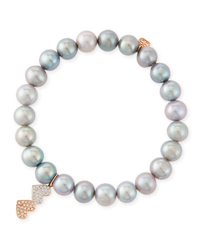8mm Gray Pearl Beaded Bracelet with Diamond Duo Heart Charm
