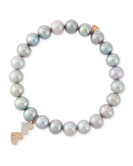 Sydney Evan 8mm Gray Pearl Beaded Bracelet with