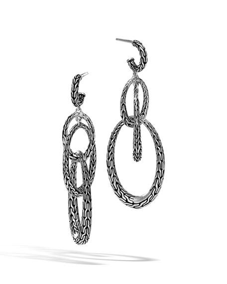 John Hardy Classic Chain Silver Drop Oval Earrings