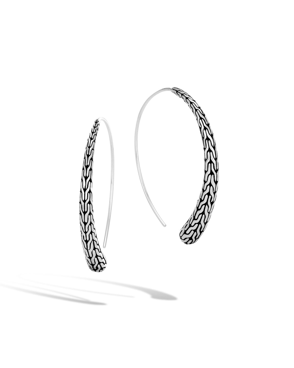Clic Chain Silver Medium Thread Through Hoop Earrings