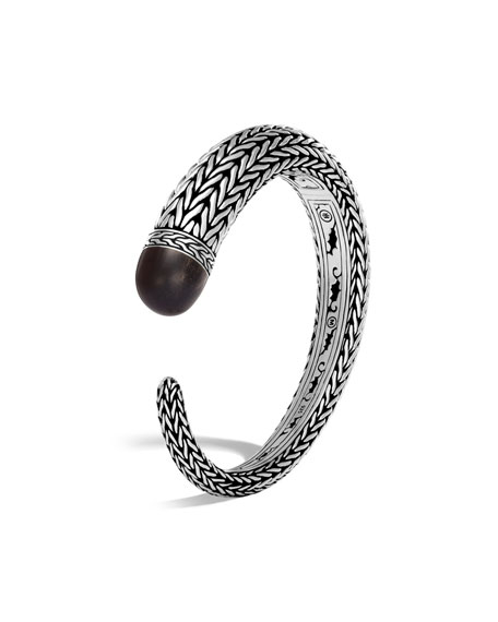 Classic Chain Silver Small Kick Cuff Bracelet with Ebony Wood
