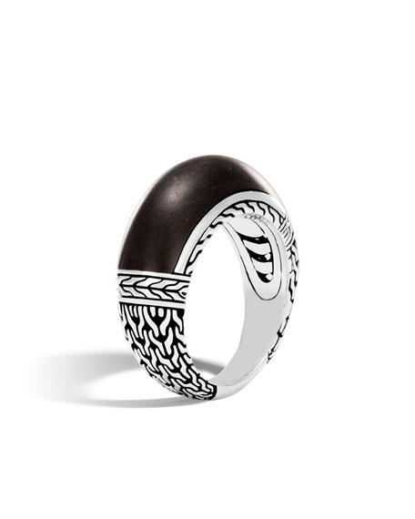 Classic Chain Silver 10mm Dome Ring with Ebony Wood, Size 7