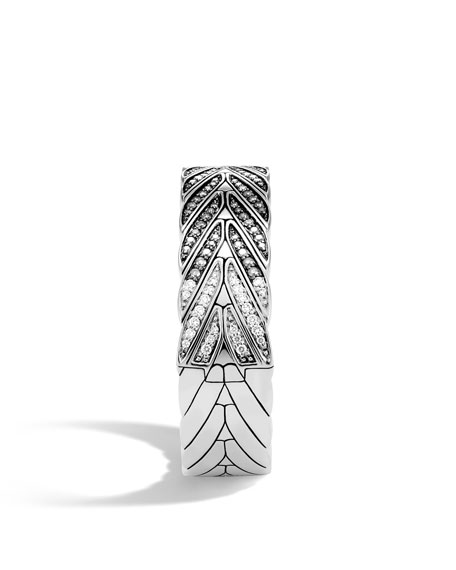 Modern Chain Hinged Bangle with Black Sapphires & Diamonds