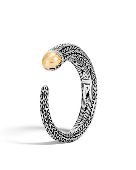 Classic Chain Hammered Diamond Tip Cuff Bracelet