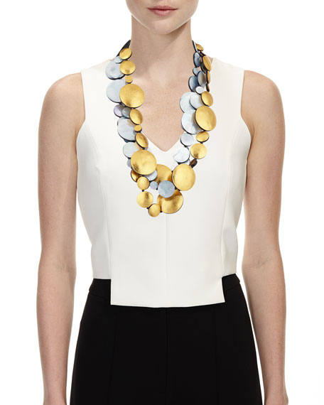 Triple-Strand Mother of Pearl Doublets Necklace