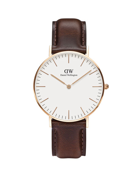 36mm Classic Bristol Watch in Rose Golden/White/BRown