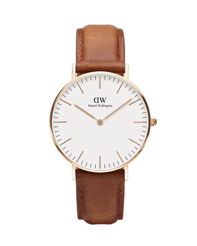 36mm Classic Durham Watch, Brown/White/Rose Golden