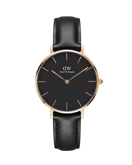 32mm Classic Petite Sheffield Watch, Black/Rose Golden