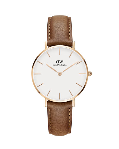 32mm Classic Petite Durham Watch, White/Rose Golden/Brown