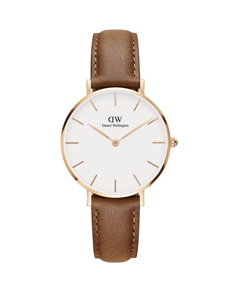 Daniel Wellington 32mm Classic Petite Durham Watch, White/Rose