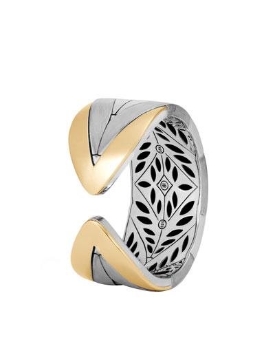 Modern Chain 18K Gold & Silver Large Kick Cuff Bracelet
