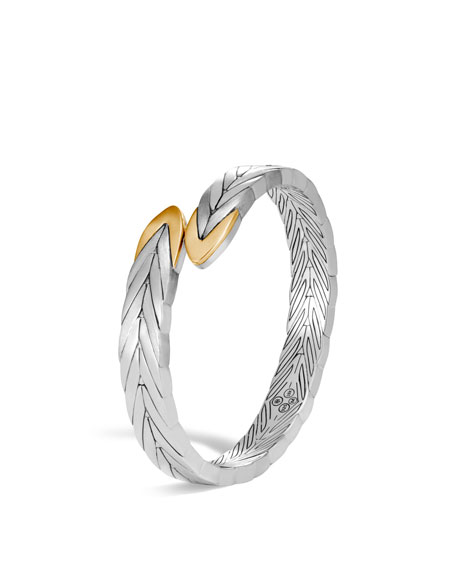 Modern Chain 18K Gold & Silver Small Flex Cuff Bracelet