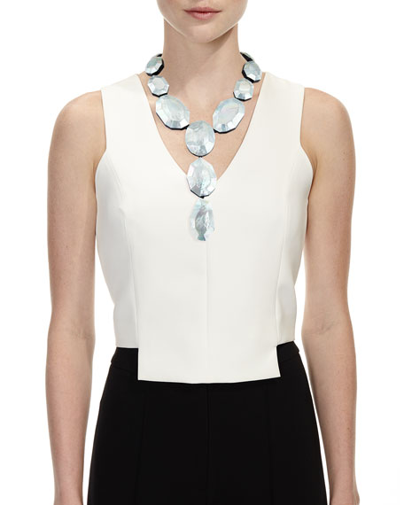 Faceted Silvery Mother-of-Pearl Lariat Necklace