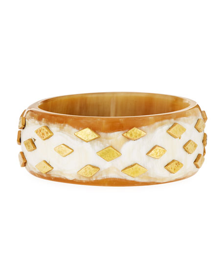 Ashley Pittman Mila Studded Light Horn Bangle