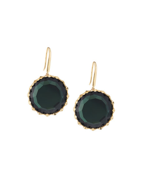 LANA 14k Midnight Round Drop Earrings, Green