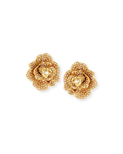 Pavé Crystal Flower Clip-On Earrings
