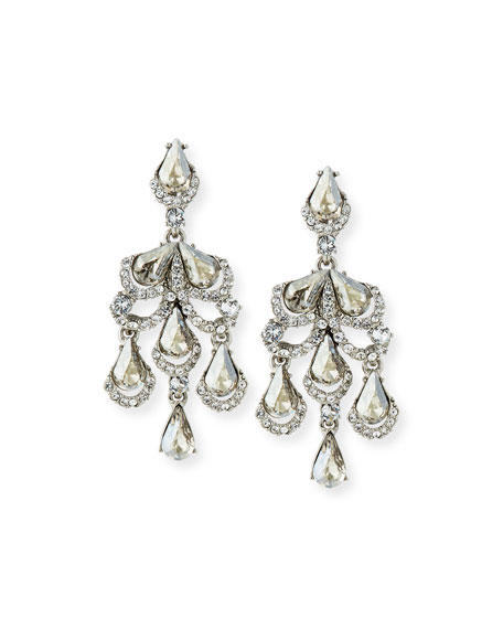Oscar de la Renta Baroque Crystal Clip-On Earrings