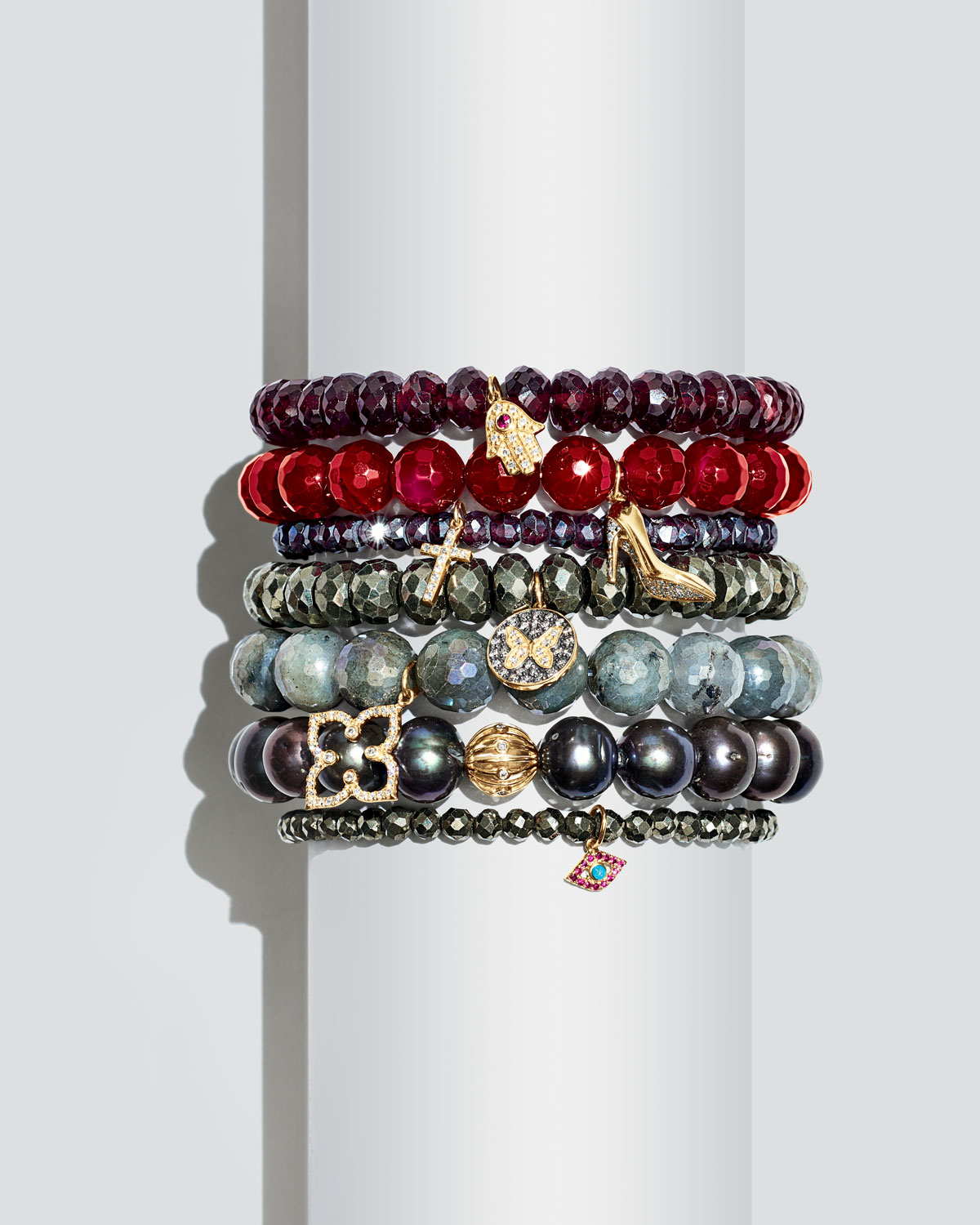 Sydney Evan Champagne Pyrite Beaded Bracelet with Ruby & Turquoise Evil Eye Charm PS9Yz