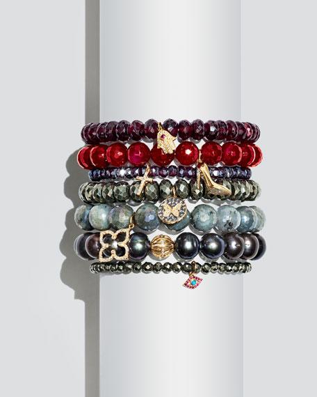 Mystic Rhodolite Garnet Beaded Bracelet with Diamond Cross Charm