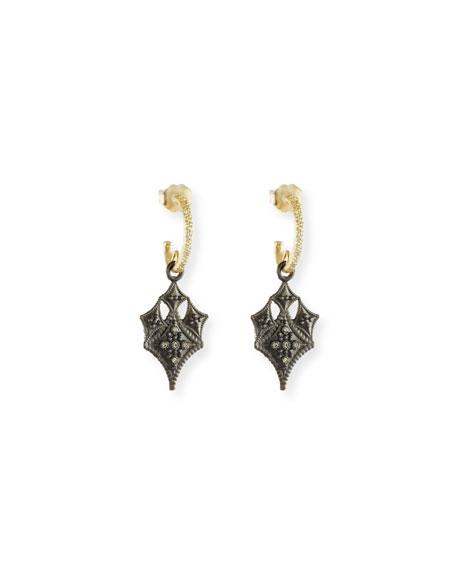 Old World Huggie Hoop Crivelli Drop Earrings
