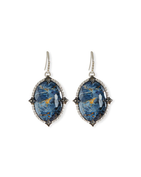 New World Blue Pietersite Earrings with Diamonds