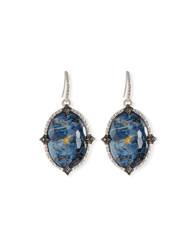 Armenta New World Blue Pietersite Earrings with Diamonds u7bn3Wk0R