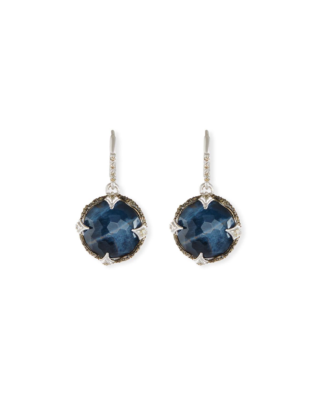 New World Round Pietersite Drop Earrings With Diamonds