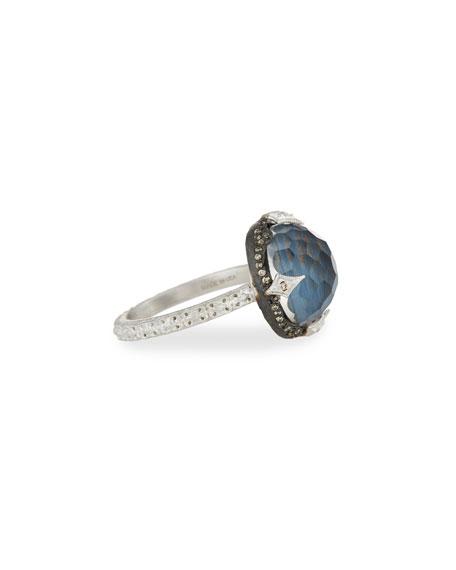 New World Round Pietersite Doublet Ring with Diamonds