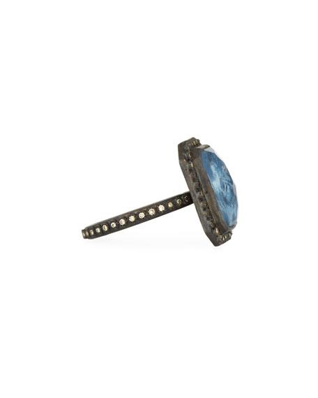 New World Emerald-Cut Blue Pietersite Doublet Ring with Diamonds