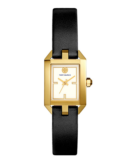 Dalloway Leather Strap Watch, Black/White