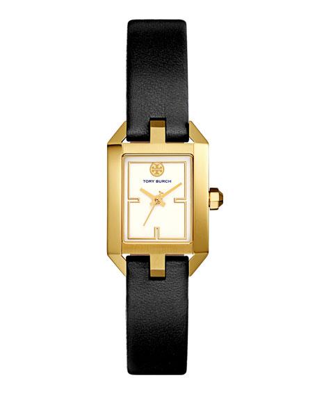Dalloway Leather Strap Watch, Black/White