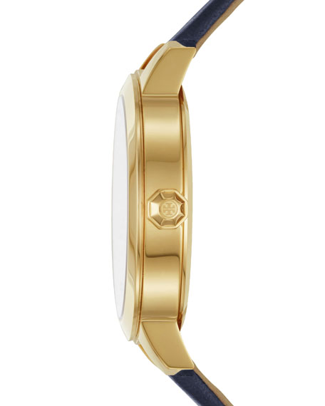 Collins Leather Strap Watch, Navy/Golden
