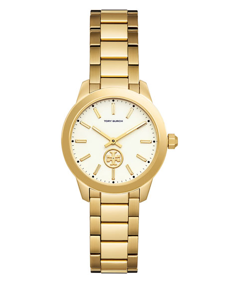 Tory Burch 32mm Collins Two-Hand Bracelet Watch, Golden