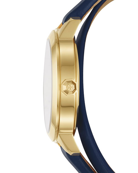 Collins Navy Double-Wrap Leather Two-Hand Watch